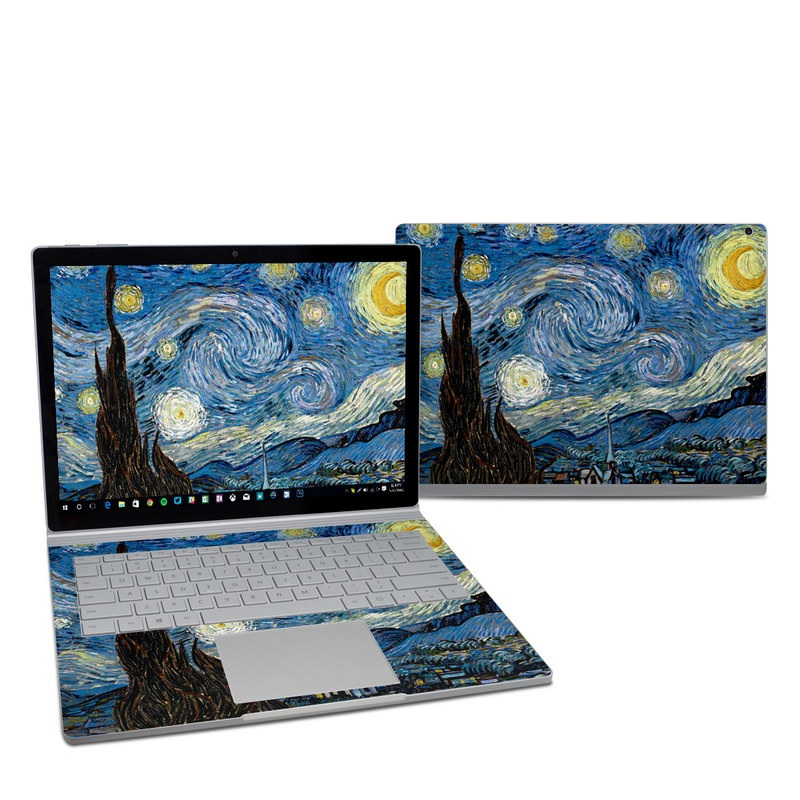 Microsoft Surface Book 2 13.5-inch i5 Skin design of Painting, Purple, Art, Tree, Illustration, Organism, Watercolor paint, Space, Modern art, Plant with gray, black, blue, green colors