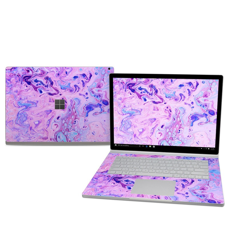Microsoft Surface Book 2 15-inch Skin design of Purple, Violet, Lilac, Art, Pattern, Modern art, Painting, Visual arts, Acrylic paint, Magenta with pink, purple, blue colors