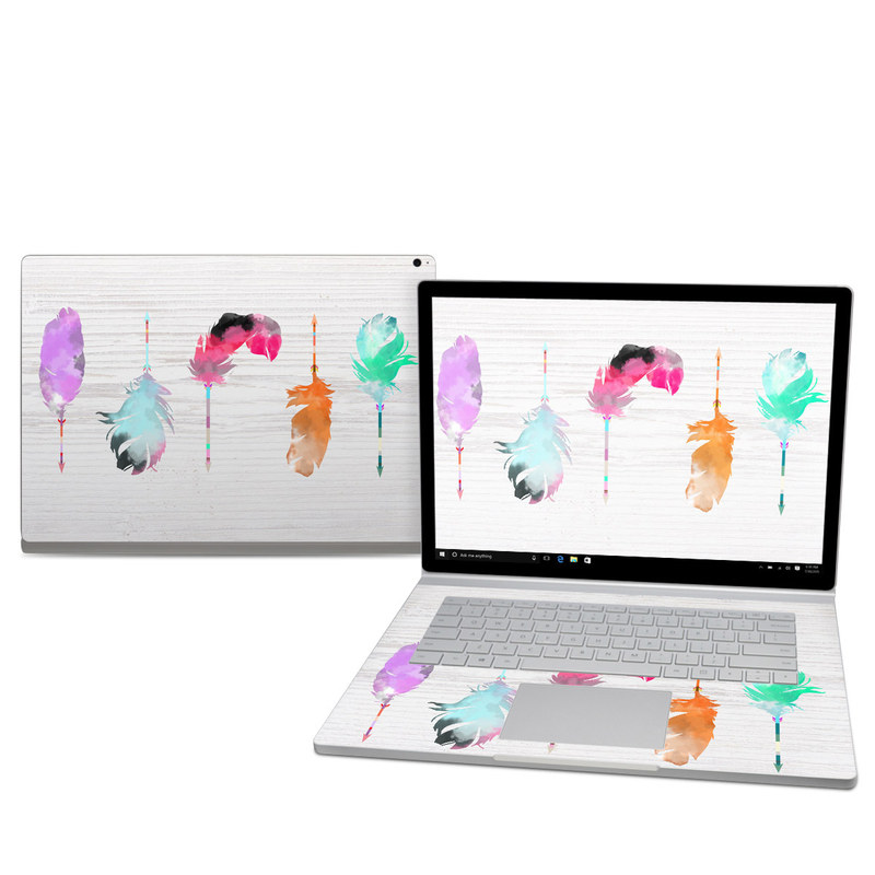 Microsoft Surface Book 2 15-inch Skin design of Pink, Watercolor paint, Illustration, Feather, Design, Art, Painting, Graphic design, Visual arts, Drawing with white, orange, red, blue, pink, purple, green colors