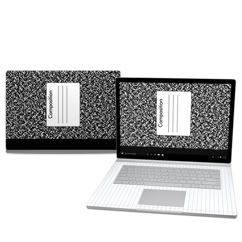 Microsoft Surface Book 2 15-inch Skin design of Text, Font, Line, Pattern, Black-and-white, Illustration with black, gray, white colors
