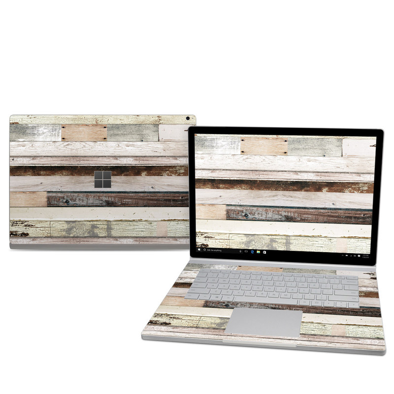 Microsoft Surface Book 2 15-inch Skin design of Wood, Wall, Plank, Line, Lumber, Wood stain, Beige, Parallel, Hardwood, Pattern with brown, white, gray, yellow colors