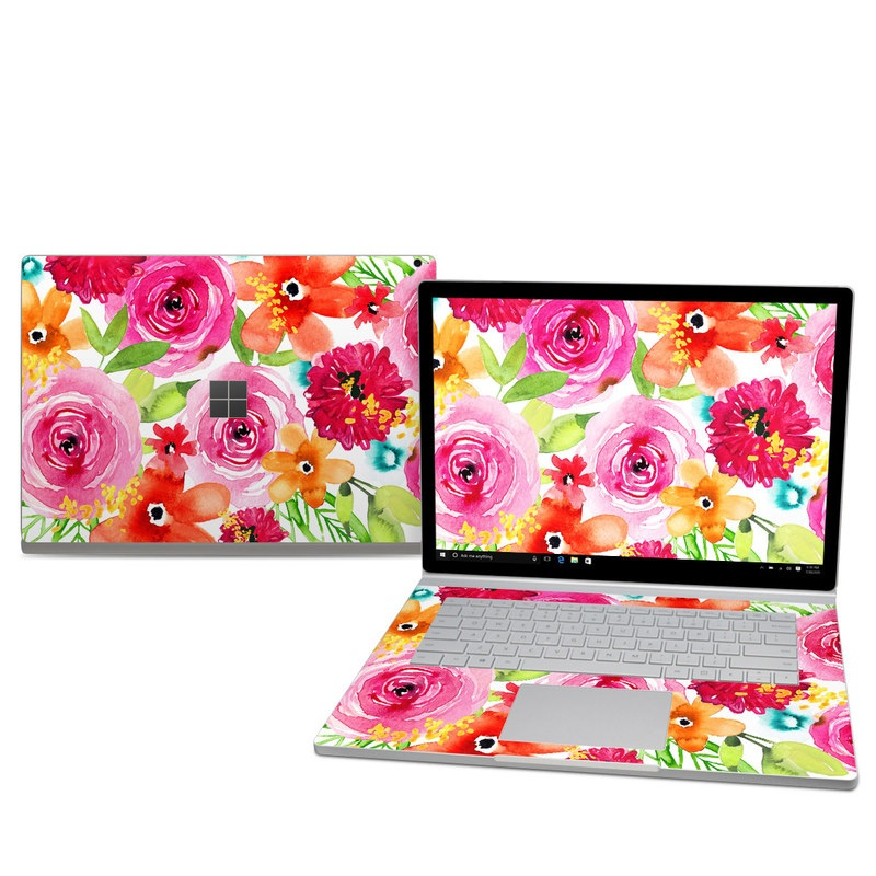 Microsoft Surface Book 2 15-inch Skin design of Flower, Cut flowers, Floral design, Plant, Pink, Bouquet, Petal, Flower Arranging, Artificial flower, Clip art with pink, red, green, orange, yellow, blue, white colors