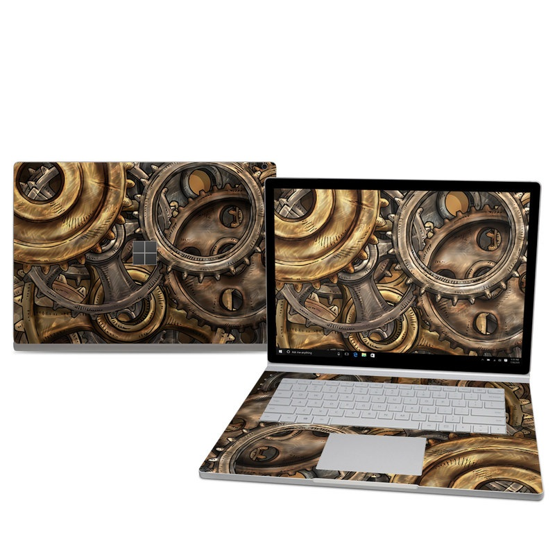 Microsoft Surface Book 2 15-inch Skin design of Metal, Auto part, Bronze, Brass, Copper with black, red, green, gray colors