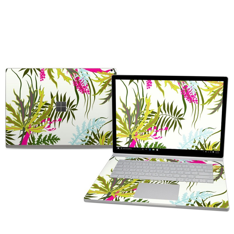 Microsoft Surface Book 2 15-inch Skin design of Leaf, Plant, Flower, Botany, Tree, Pattern, Branch, Vascular plant, Flowering plant, Graphics with green, pink, blue colors
