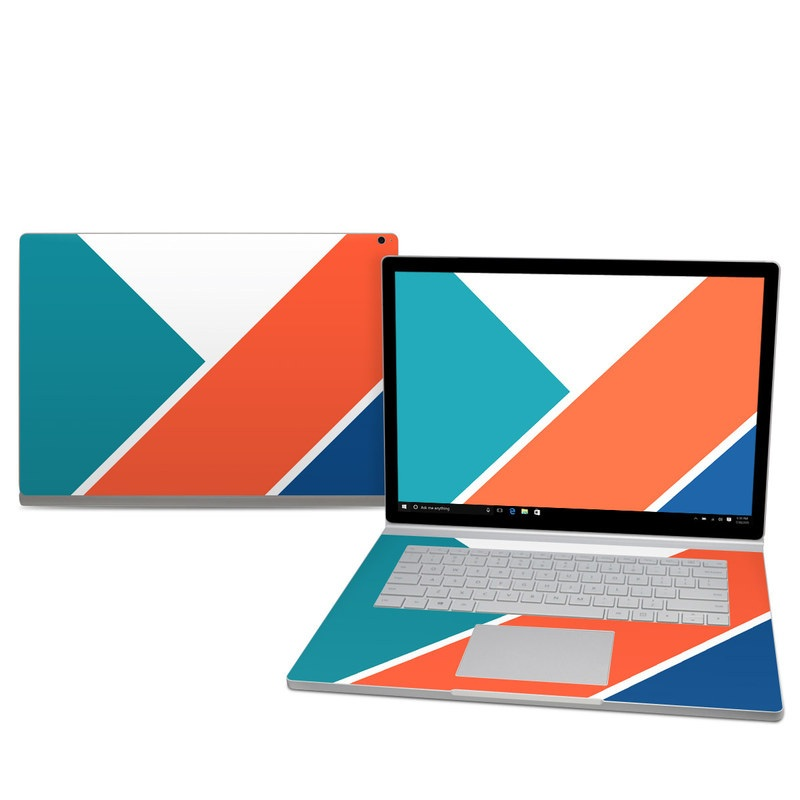 Microsoft Surface Book 2 15-inch Skin design of Blue, Orange, Line, Turquoise, Flag, Electric blue, Pattern, Parallel with white, blue, red, orange, green colors