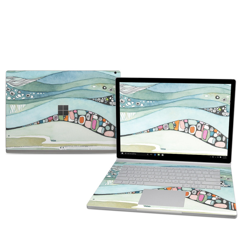 Microsoft Surface Book 2 15-inch Skin design of Line, Illustration, Art with blue, green, orange, pink, black, white, yellow colors
