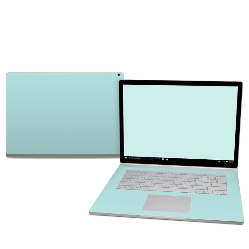 Microsoft Surface Book 2 15-inch Skin design of Green, Blue, Aqua, Turquoise, Teal, Azure, Text, Daytime, Yellow, Sky with blue colors