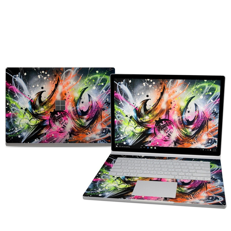Microsoft Surface Book 2 15-inch Skin design of Graphic design, Fractal art, Art, Illustration, Design, Graphics, Cg artwork, Font, Visual arts, Pattern with black, gray, red, green, purple, blue colors