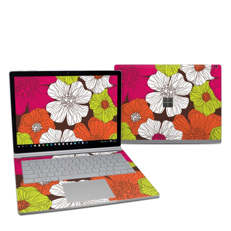 Microsoft Surface Book 2 13.5-inch i7 Skin design of Flower, Floral design, Pattern, Plant, Botany, Design, Petal, Textile, Visual arts, Wildflower with brown, orange, pink, white, green colors