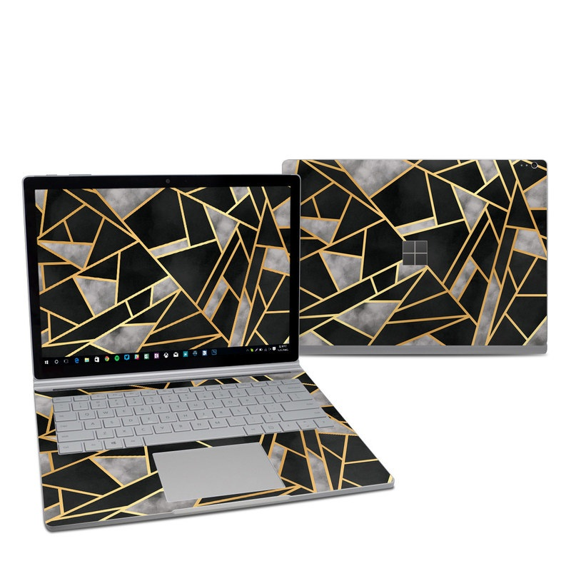Microsoft Surface Book 2 13.5-inch i7 Skin design of Pattern, Triangle, Yellow, Line, Tile, Floor, Design, Symmetry, Architecture, Flooring with black, gray, yellow colors