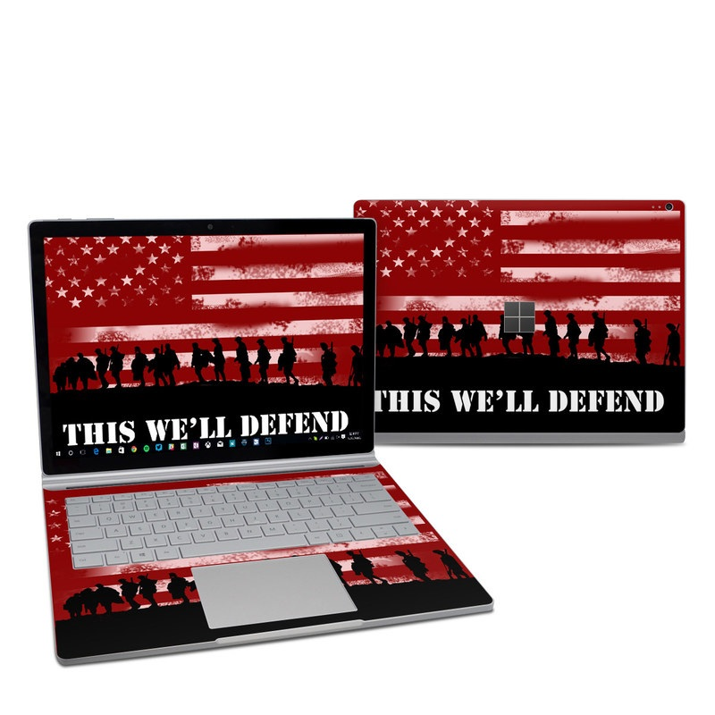 Microsoft Surface Book 2 13.5-inch i7 Skin design of Red, Flag, Font, Veterans day, Crowd, Illustration, Silhouette, Red flag with red, black, gray, pink colors