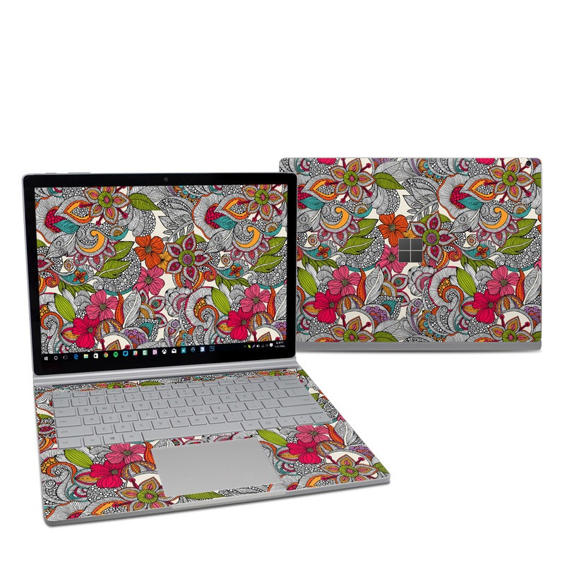 Microsoft Surface Book 2 13.5-inch i7 Skin design of Pattern, Drawing, Visual arts, Art, Design, Doodle, Floral design, Motif, Illustration, Textile with gray, red, black, green, purple, blue colors