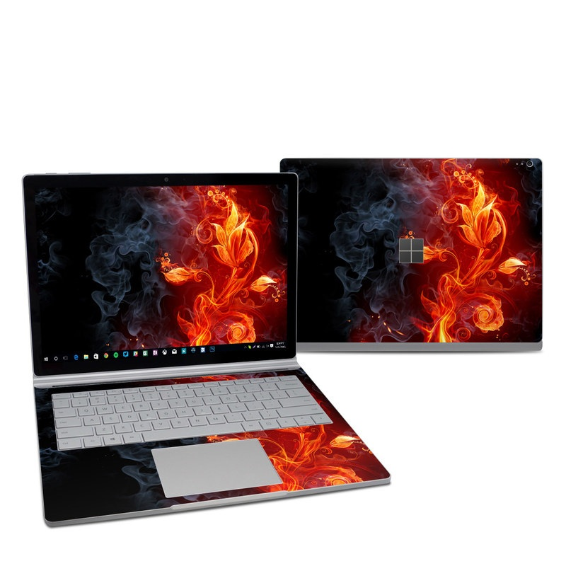 Microsoft Surface Book 2 13.5-inch i7 Skin design of Flame, Fire, Heat, Red, Orange, Fractal art, Graphic design, Geological phenomenon, Design, Organism with black, red, orange colors