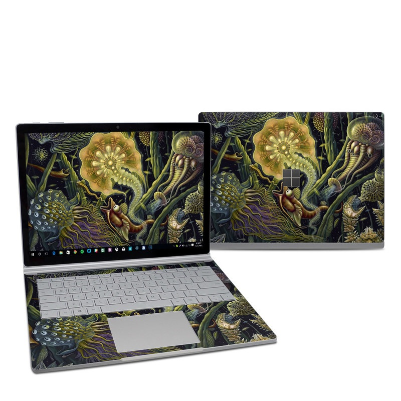 Microsoft Surface Book 2 13.5-inch i7 Skin design of Psychedelic art, Organism, Art, Mythology, Illustration, Fictional character, Cg artwork, Painting with black, green, red, gray colors
