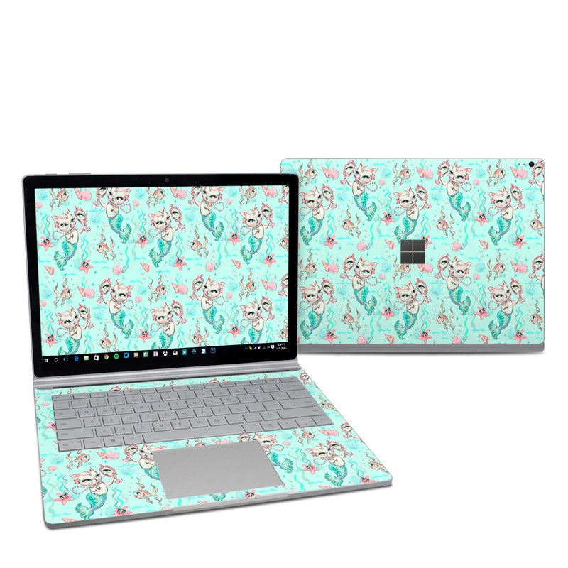 Microsoft Surface Book 2 13.5-inch i7 Skin design of Green, Aqua, Pattern, Teal, Turquoise, Pink, Textile, Wrapping paper, Design with blue, pink, white, green colors