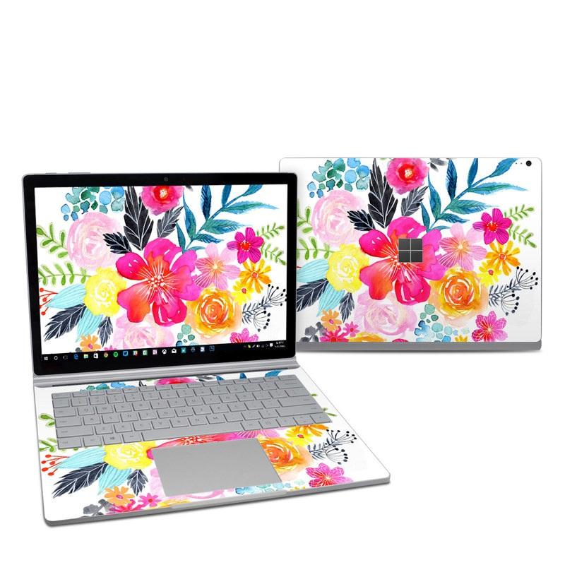 Microsoft Surface Book 2 13.5-inch i7 Skin design of Flower, Clip art, Bouquet, Plant, Illustration, Floral design, Pink, Petal, Botany, Design with white, pink, orange, red, yellow, blue, black, green colors