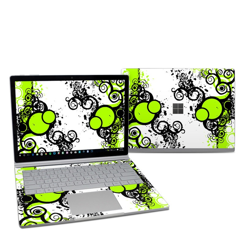 Microsoft Surface Book 2 13.5-inch i7 Skin design of Green, Circle, Graphic design, Leaf, Visual arts, Font, Design, Line, Pattern, Clip art with white, black, green, gray colors