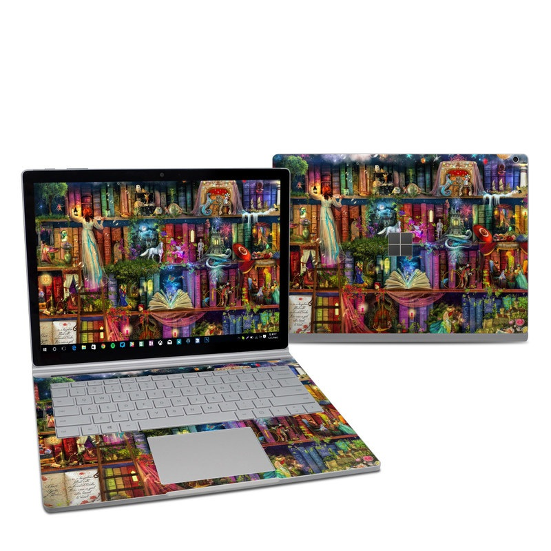 Microsoft Surface Book 2 13.5-inch i7 Skin design of Painting, Art, Theatrical scenery with black, red, gray, green, blue colors