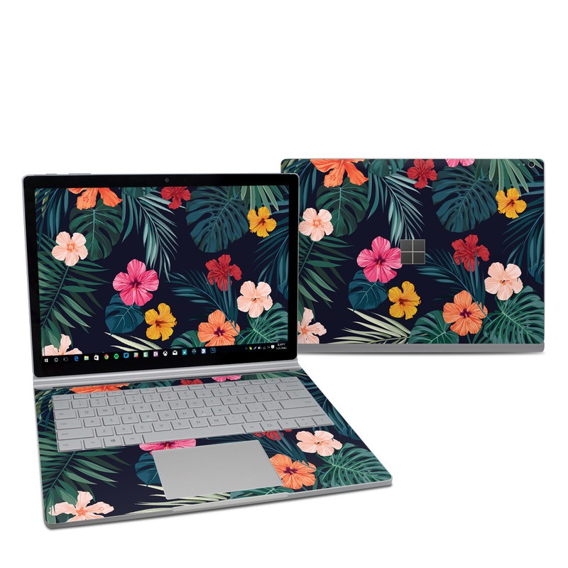 Microsoft Surface Book 2 13.5-inch i7 Skin design of Hawaiian hibiscus, Flower, Pattern, Plant, Leaf, Floral design, Botany, Design, Hibiscus, Petal with black, green, red, pink, orange, yellow, white colors