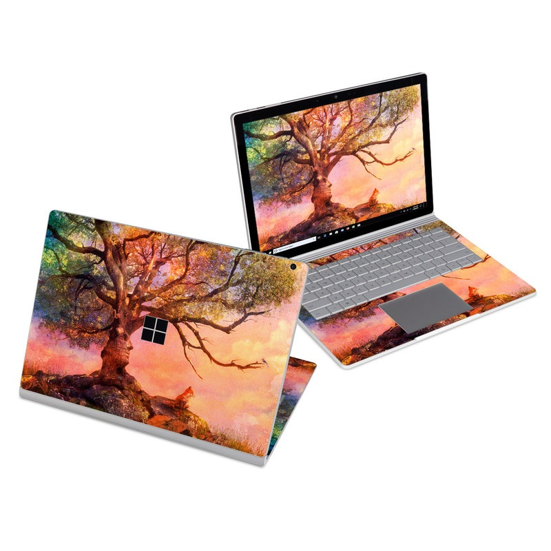 Microsoft Surface Book 3 13.5-inch i5 Skin design of Nature, Tree, Sky, Natural landscape, Branch, Leaf, Woody plant, Trunk, Landscape, Plant with pink, red, black, green, gray, orange colors