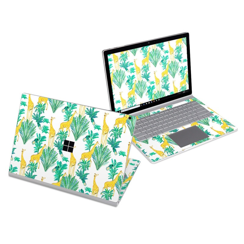 Microsoft Surface Book 3 13.5-inch i5 Skin design of Leaf, Plant, Botany, Pattern, Flower with white, yellow, green colors