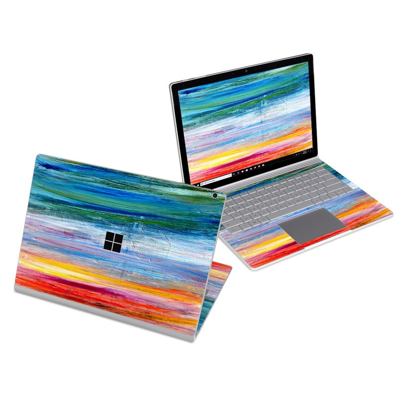 Microsoft Surface Book 3 13.5-inch i5 Skin design of Sky, Painting, Acrylic paint, Modern art, Watercolor paint, Art, Horizon, Paint, Visual arts, Wave with gray, blue, red, black, pink colors