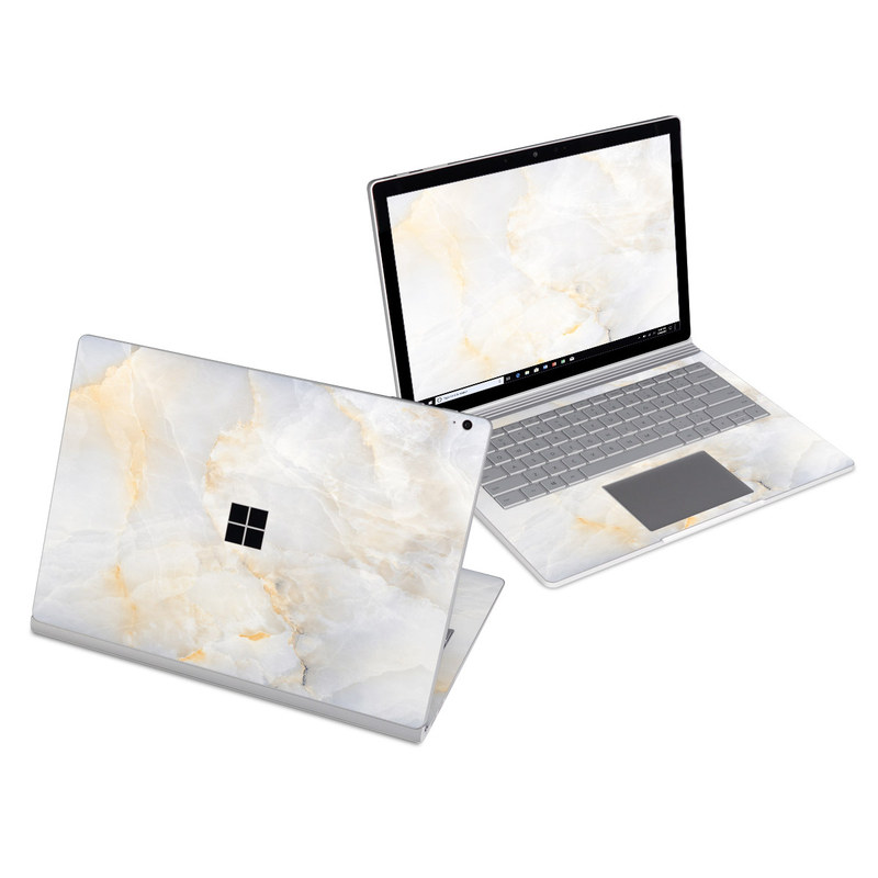 Microsoft Surface Book 3 13.5-inch i7 Skin design of White, Textile, Flooring, Marble, Paper, Pattern, Fashion accessory, Tile with white, orange, black, yellow colors