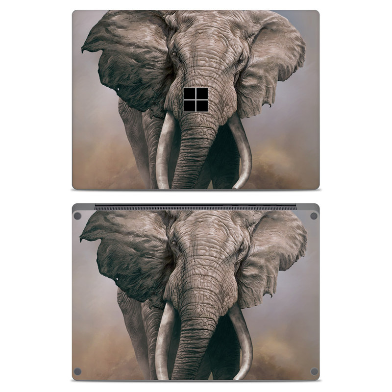 Microsoft Surface Laptop Skin design of Elephants and Mammoths, Terrestrial animal, Indian elephant, African elephant, Wildlife, Tusk, Snout, Organism, Working animal, Illustration with brown, gray, white colors