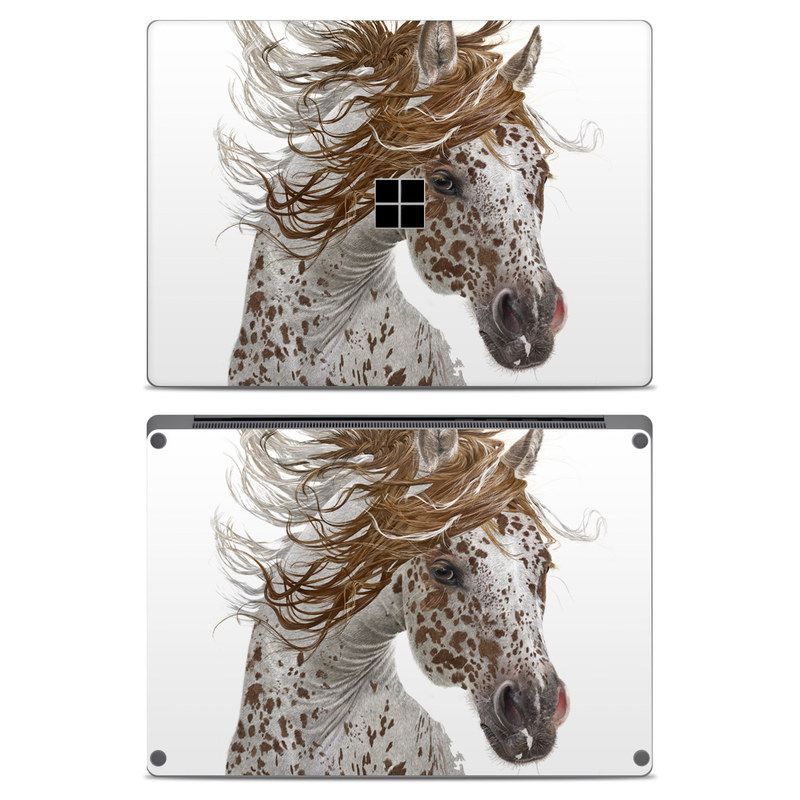 Microsoft Surface Laptop Skin design of Horse, Mane, Mustang horse, Illustration, Snout, Animal figure, Drawing, Stallion, Liver, Mare with white, brown colors