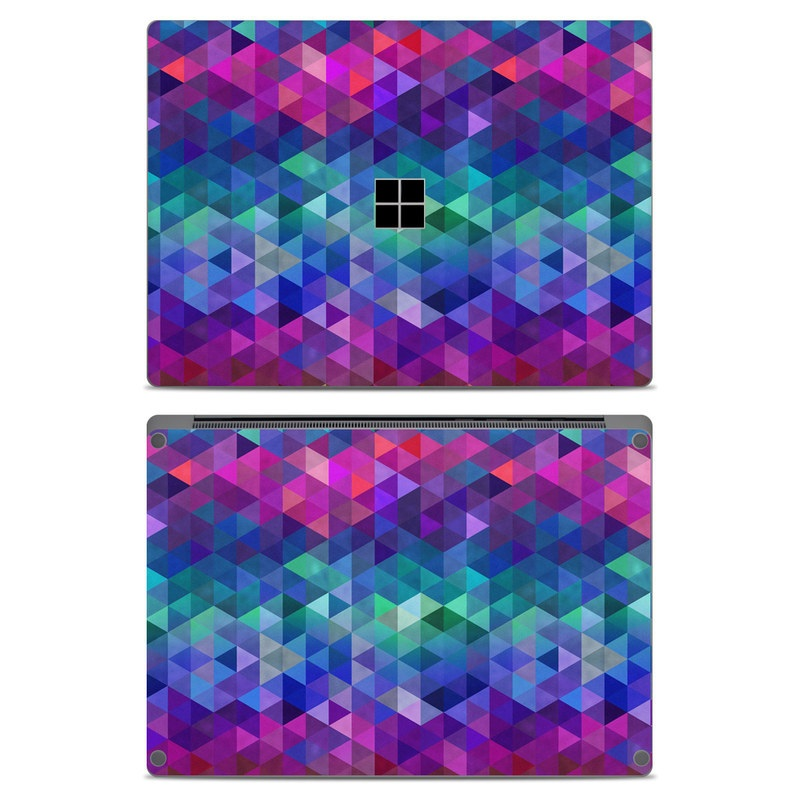 Microsoft Surface Laptop Skin design of Purple, Violet, Pattern, Blue, Magenta, Triangle, Line, Design, Graphic design, Symmetry with blue, purple, green, red, pink colors