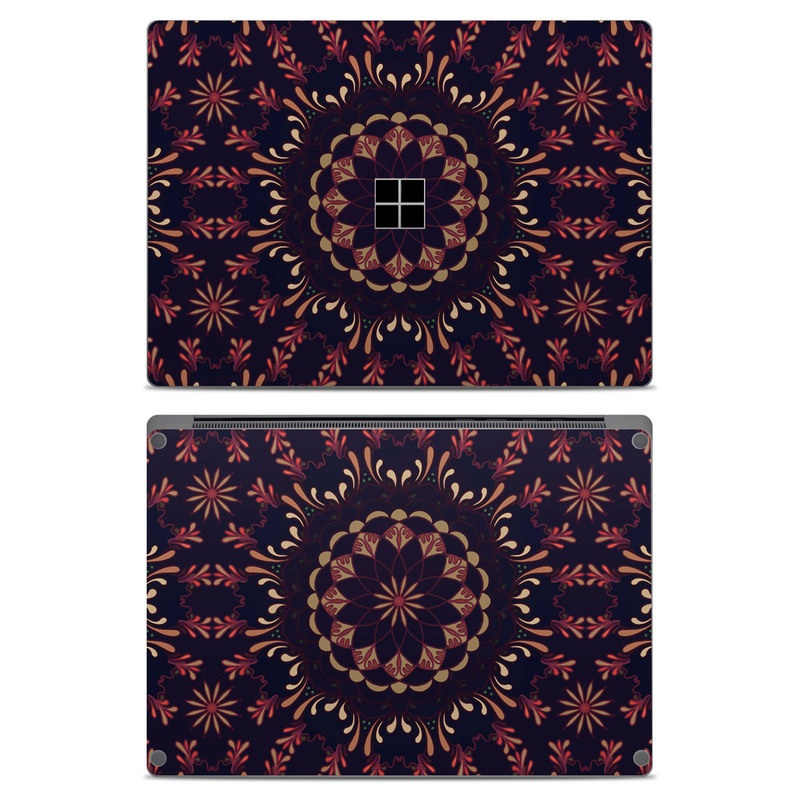 Microsoft Surface Laptop Skin design of Pattern, Brown, Red, Symmetry, Textile, Design, Visual arts, Tapestry, Kaleidoscope with black, red, orange, yellow, brown colors