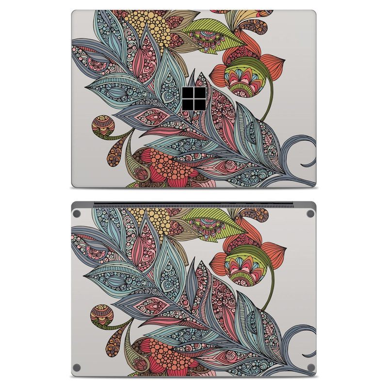 Microsoft Surface Laptop Skin design of Botany, Plant, Leaf, Pattern, Flower, Illustration, Design, Motif, Protea family, Flowering plant with green, blue, pink, red, yellow, orange, gray, brown colors