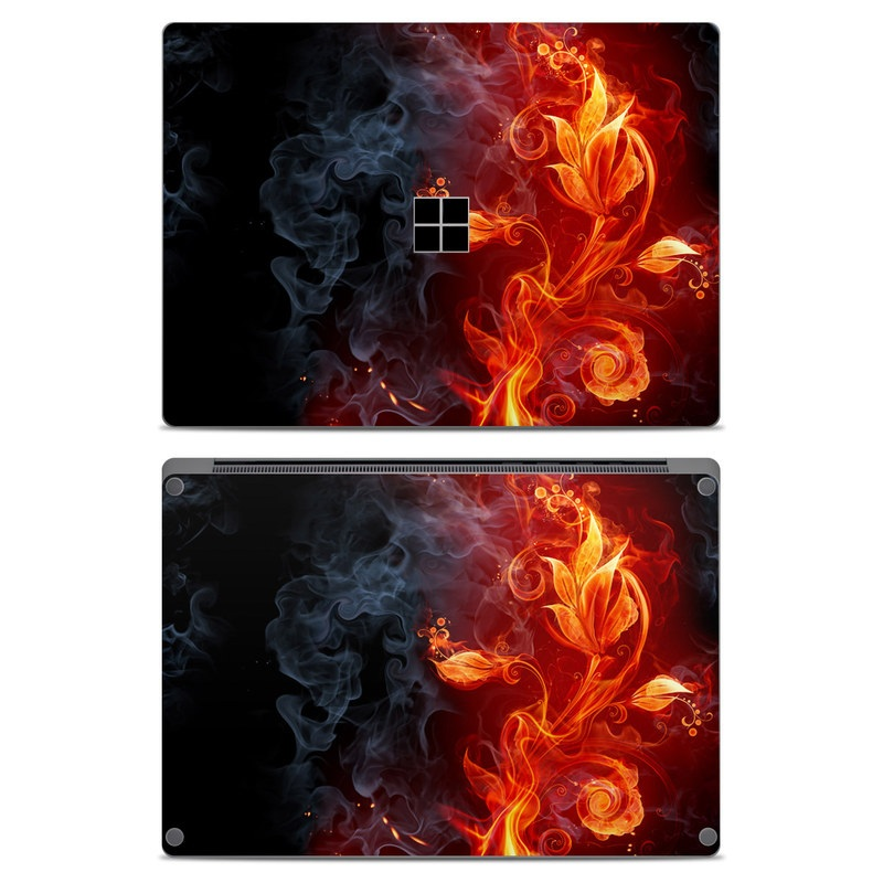 Microsoft Surface Laptop Skin design of Flame, Fire, Heat, Red, Orange, Fractal art, Graphic design, Geological phenomenon, Design, Organism with black, red, orange colors