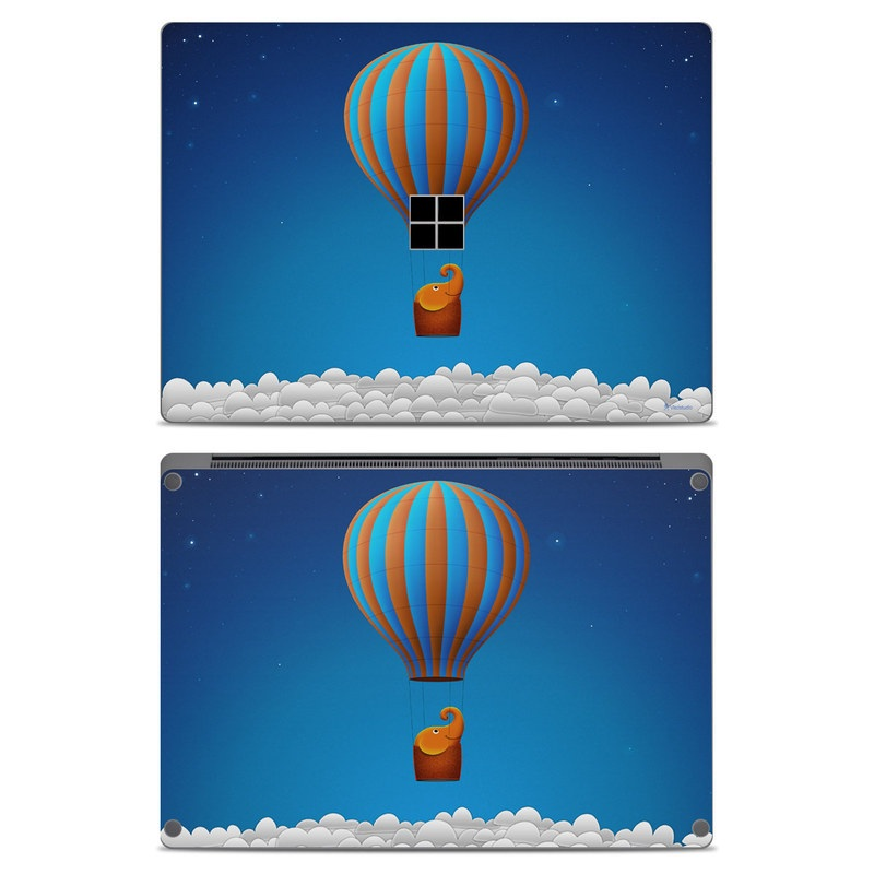 Microsoft Surface Laptop Skin design of Hot air ballooning, Hot air balloon, Sky, Balloon, Air travel, Azure, Vehicle, Air sports, Illustration, Aerostat with blue, gray, red, green colors