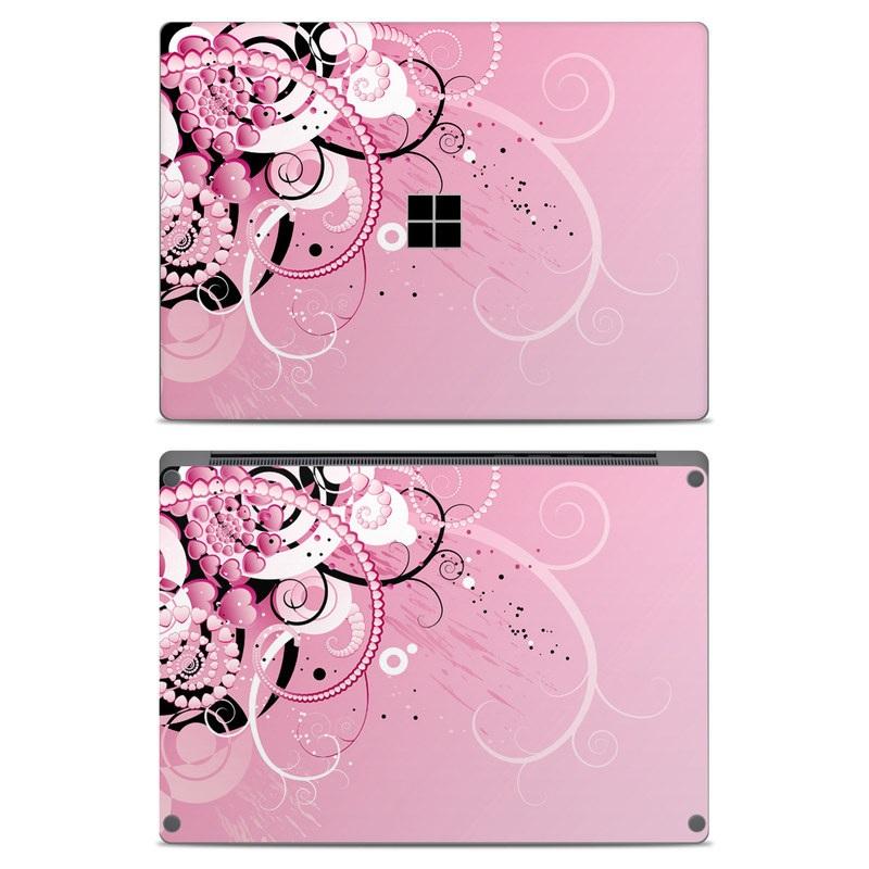 Microsoft Surface Laptop Skin design of Pink, Floral design, Graphic design, Text, Design, Flower Arranging, Pattern, Illustration, Flower, Floristry with pink, gray, black, white, purple, red colors