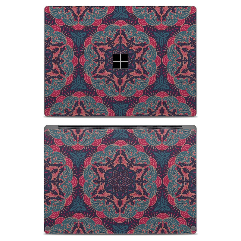 Microsoft Surface Laptop Skin design of Pattern, Red, Design, Textile, Visual arts, Rug, Symmetry, Motif, Woven fabric with blue, red colors