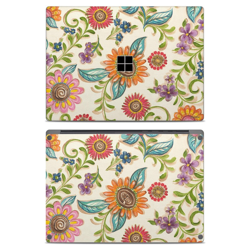 Microsoft Surface Laptop Skin design of Pattern, Floral design, Flower, Botany, Design, Visual arts, Textile, Plant, Wildflower, Pedicel with gray, green, pink, yellow, red, blue colors