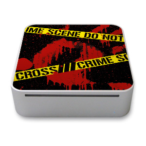 Old Mac mini Skin design of Red, Black, Font, Text, Logo, Graphics, Graphic design, Room, Carmine, Fictional character with black, red, green colors