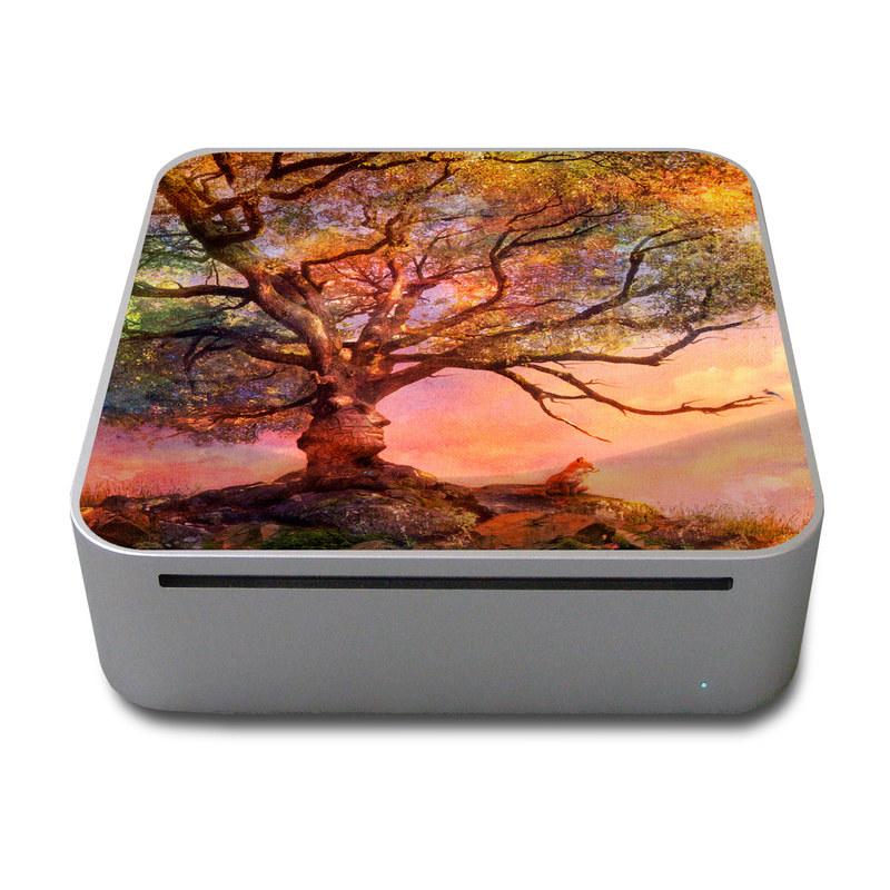 Old Mac mini Skin design of Nature, Tree, Sky, Natural landscape, Branch, Leaf, Woody plant, Trunk, Landscape, Plant with pink, red, black, green, gray, orange colors