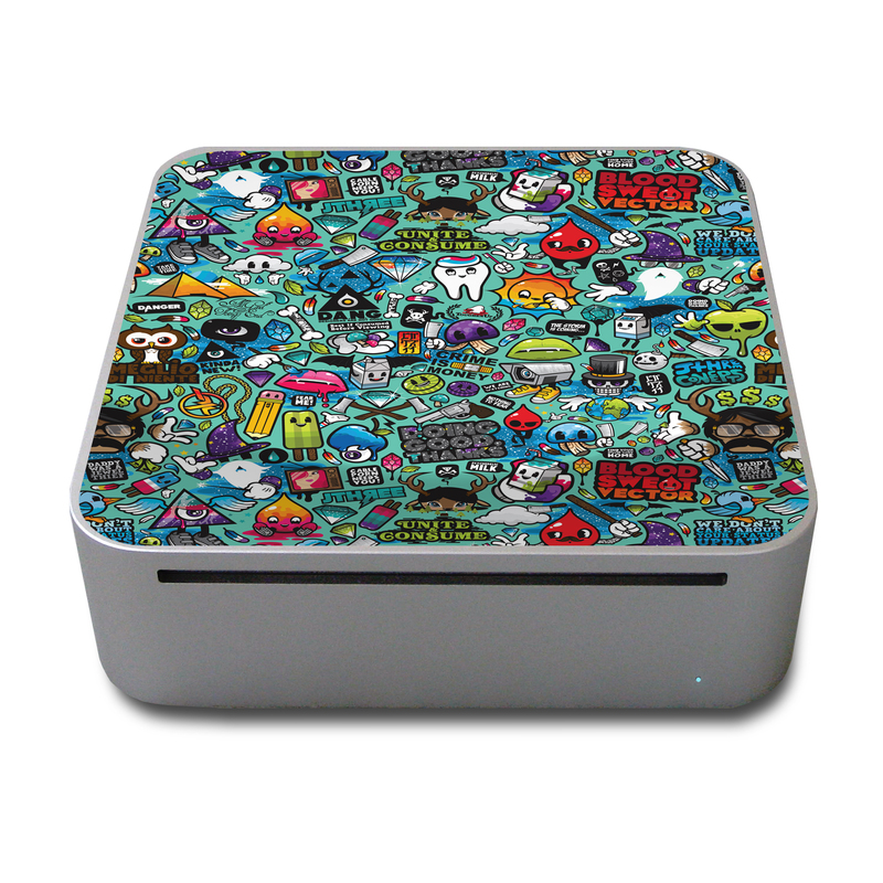 Old Mac mini Skin design of Cartoon, Art, Pattern, Design, Illustration, Visual arts, Doodle, Psychedelic art with black, blue, gray, red, green colors