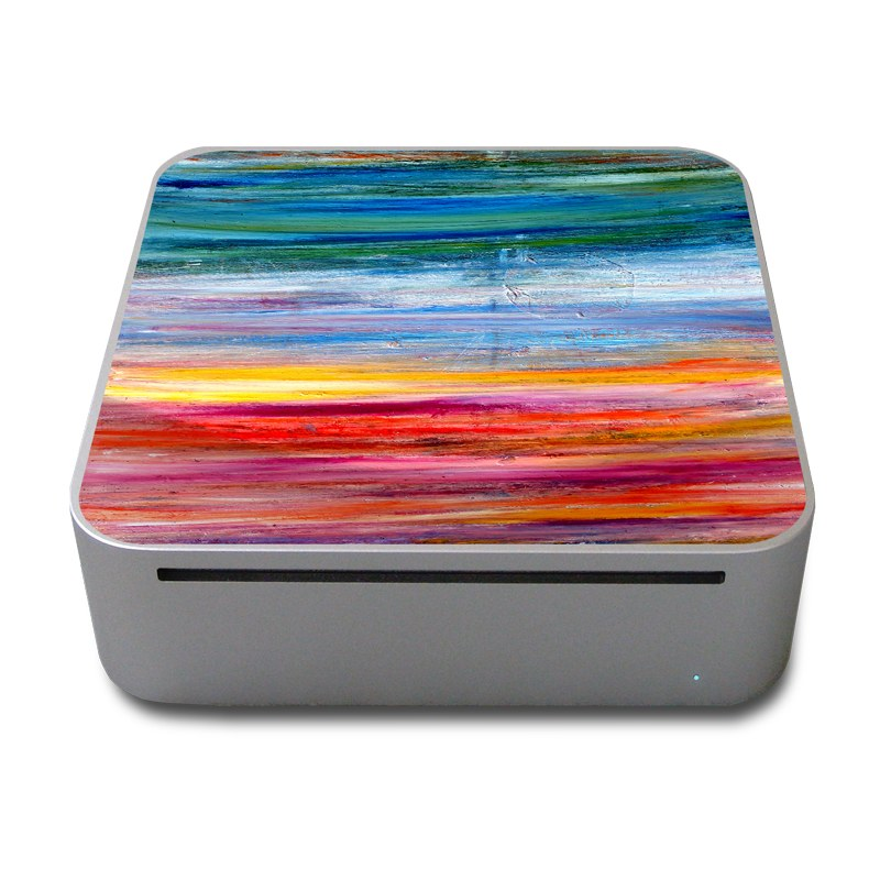 Old Mac mini Skin design of Sky, Painting, Acrylic paint, Modern art, Watercolor paint, Art, Horizon, Paint, Visual arts, Wave with gray, blue, red, black, pink colors