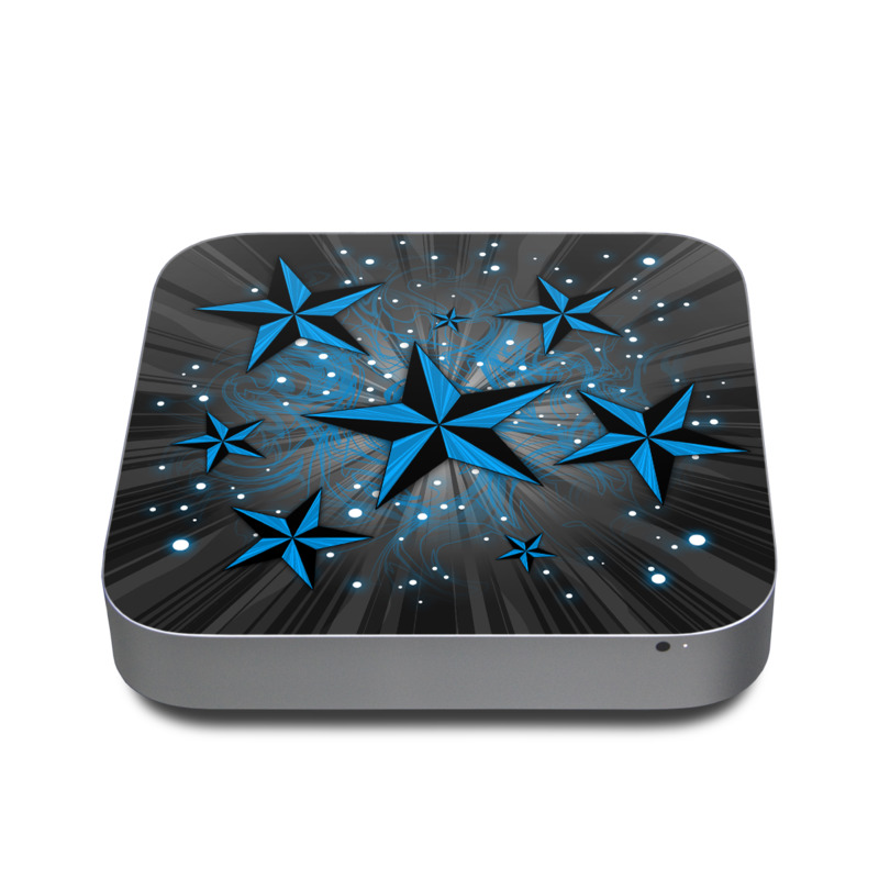 Mac mini Skin design of Blue, Star, Pattern, Design, Astronomical object, Snowflake, Space, Symmetry with black, blue, gray colors