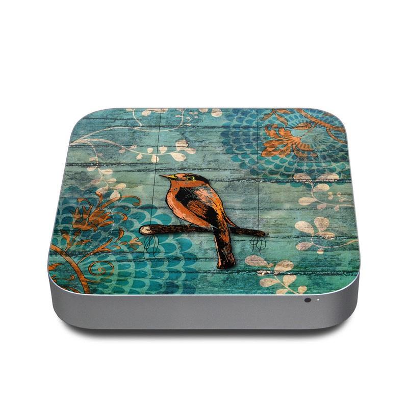 Mac mini Skin design of Bird, Turquoise, Painting, Art, Coraciiformes, Branch, Beak, Wildlife, Perching bird, Illustration with black, blue, gray, green, red colors