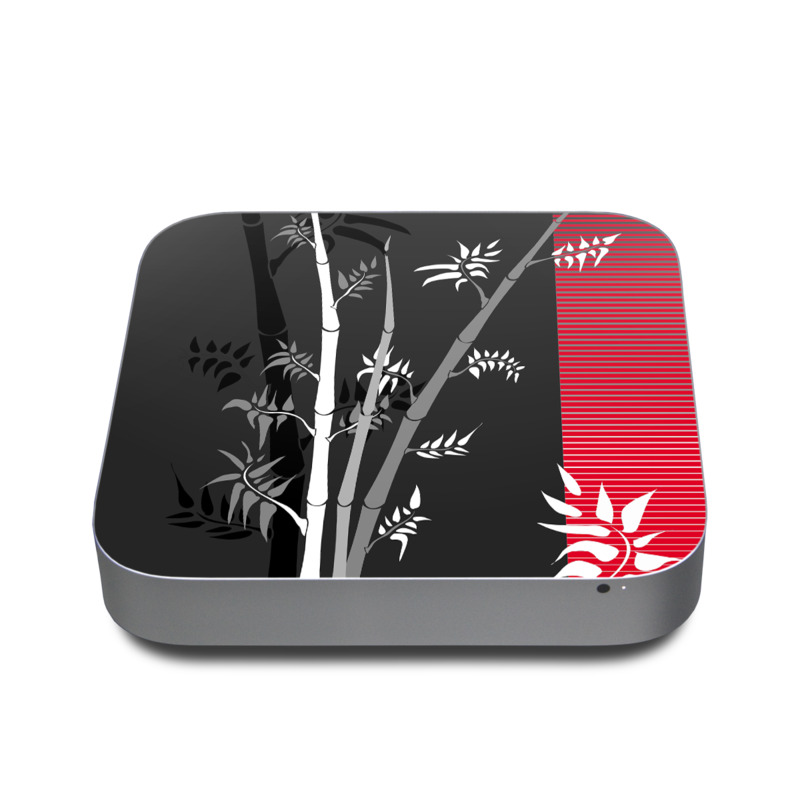 Mac mini Skin design of Tree, Branch, Plant, Graphic design, Bamboo, Illustration, Plant stem, Black-and-white with black, red, gray, white colors