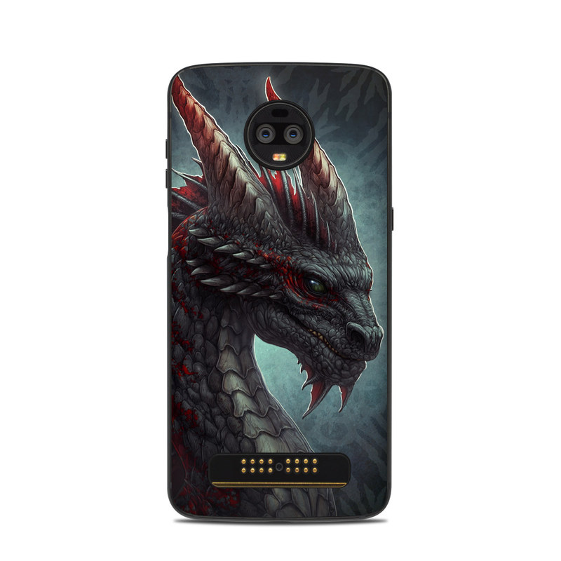 Motorola Moto Z3 Skin design of Dragon, Fictional character, Mythical creature, Demon, Cg artwork, Illustration, Green dragon, Supernatural creature, Cryptid with red, gray, blue colors