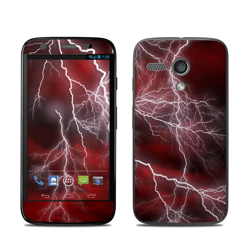 Motorola Moto G Skin design of Thunder, Thunderstorm, Lightning, Red, Nature, Sky, Atmosphere, Geological phenomenon, Lighting, Atmospheric phenomenon with red, black, white colors