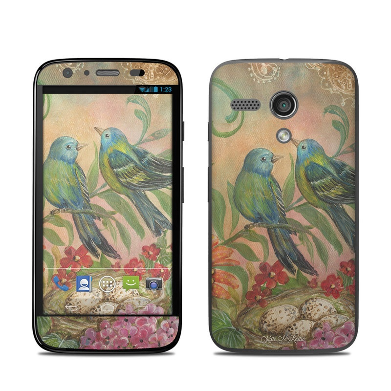 Motorola Moto G Skin design of Bird, Painting, Watercolor paint, Parrot, Acrylic paint, Bluebird, Perching bird, Songbird, Plant, Beak with blue, red, green, yellow, orange colors