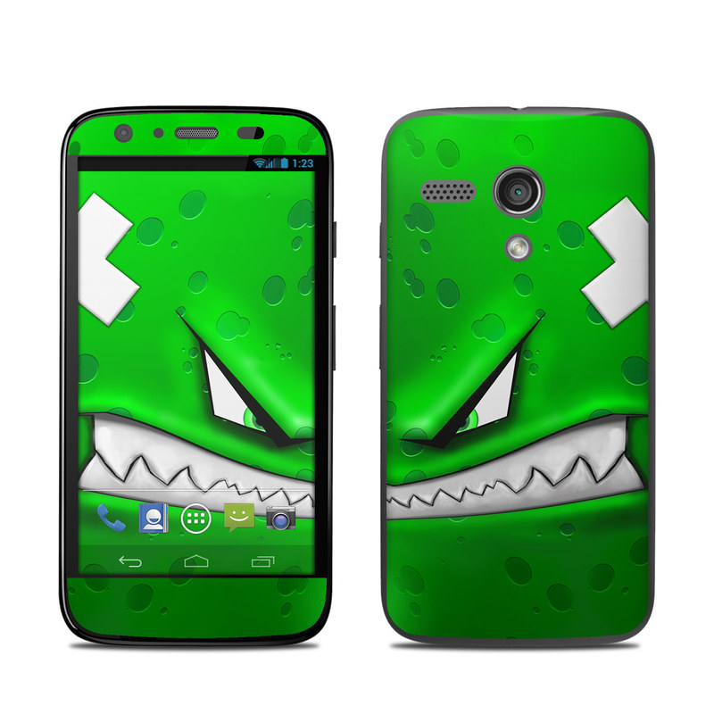 Motorola Moto G Skin design of Green, Font, Animation, Logo, Graphics, Games with green, white colors