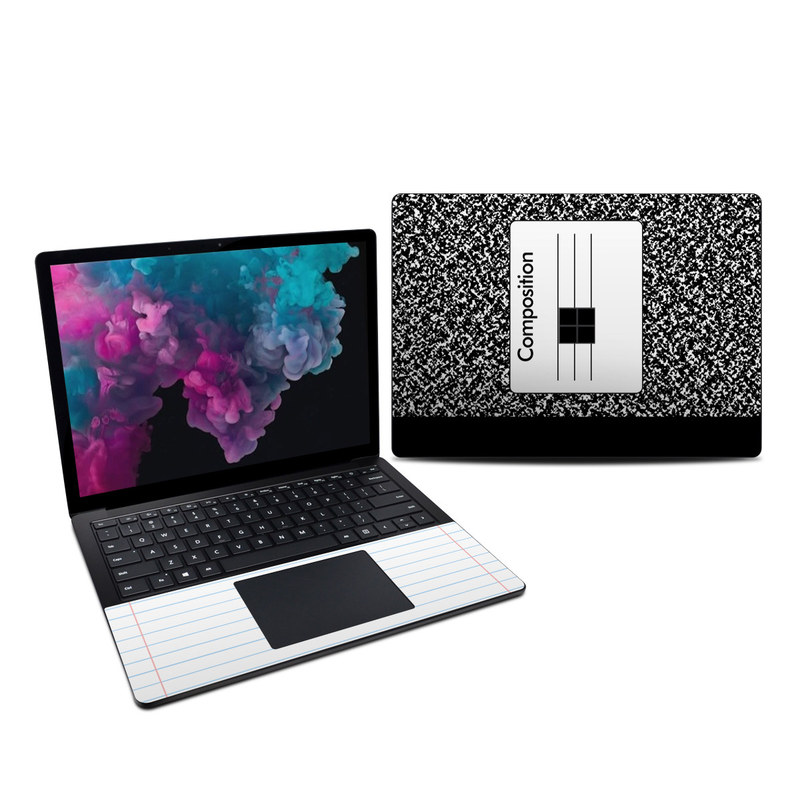 Microsoft Surface Laptop 3 13.5-inch Skin design of Text, Font, Line, Pattern, Black-and-white, Illustration with black, gray, white colors