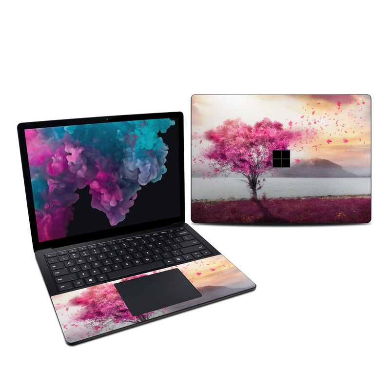 Microsoft Surface Laptop 3 13.5-inch Skin design of Sky, Nature, Natural landscape, Pink, Tree, Spring, Purple, Landscape, Cloud, Magenta with pink, yellow, blue, black, gray colors